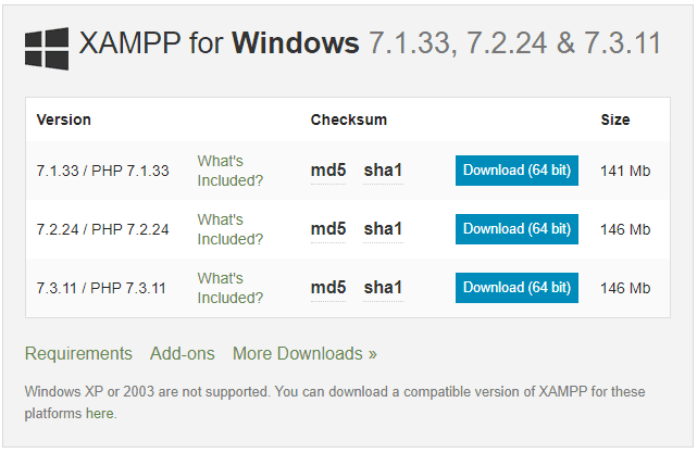 Xampp cho Windows