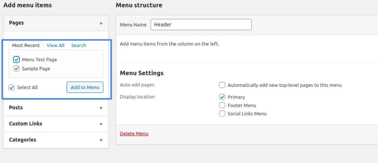 thêm menu trong wordpress